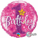 1st pink birthday foil balloon