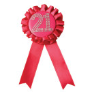 21st Birthday Pink Rosette Badge
