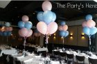 bouquets blue pink balloons