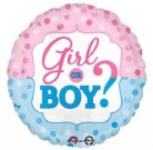 Girl or Boy Gender Reveal Baby Shower Foil Balloon