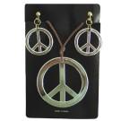 Hippie Peace Necklace Earrings