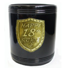 Stubby Holder can cooler 18th Birthday gold black