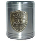 Stubby holder Can Cooler 30th Birthday Silver