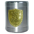 Stubby holder can cooler 30th birthday gold silver
