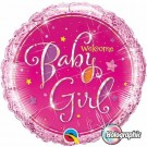 welcome baby girl round foil balloon