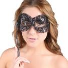 Black Lace Mask Stick Masquerade