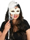 Pearl Mask with Stick White Masquerade