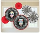 Paper Fan Decorations Skulls Halloween