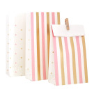 Gold Pink Stripes Dots Treat Bags Loot Lolly Illume