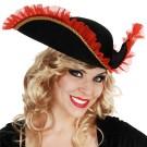 Pirate Tricorn Hat Red Trim