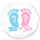 He or She Foil Balloon Qualatex Gender Reveal