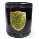 Stubby Holder can cooler black gold 50th birthday