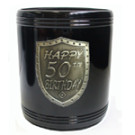 Stubby Holder can cooler black silver 50th Birthday
