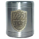 Stubby holder can cooler Happy Birthday Silver