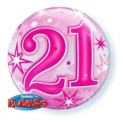 21st Birthday Pink Bubble Balloon