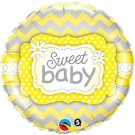 Sweet Baby Foil Balloon Yellow Grey