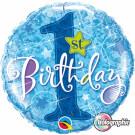 1st Birthday blue foil balloon