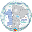 1st Birthday blue teddy foil balloon