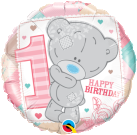 1st Birthday teddy foil balloon pink