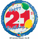 21 Birthday Foil Balloon Blue