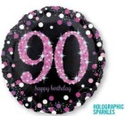 90th Birthday Pink Black Foil Balloon
