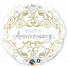 anniversary foil balloon gold qualatex damask