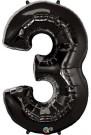 Black Number Three Foil Balloon