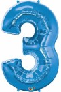 Blue Three Number Foil Balloon