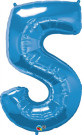 Blue Number Five Foil Balloon
