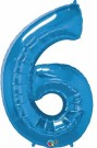Blue Number Six Foil Balloon