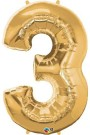 Gold Three Number Foil Balloon