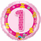 Pink One Balloon Foil