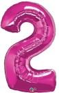 Pink Magenta Number Two Foil Balloon