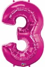 Pink Number Three Foil Balloon