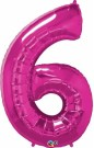 Pink Magenta Number Six Foil Balloon