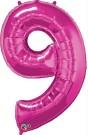 Pink Magenta Number Nine Foil Balloon