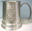 40th Pewter Beer Mug Stein Birthday