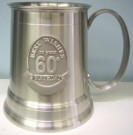 60th Beer Mug Stein Pewter Birthday
