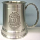 70th Birthday Beer Mug Stein Pewter