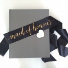 Maid of Honour Black Gold Whimsy Chuffed Hens Night Sash