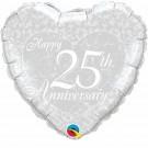 25th silver anniversary foil balloon