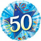 50th blue foil balloon qualatex