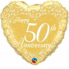 50th anniversary gold balloon foil