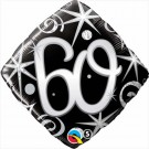 60th black diamond foil balloon birthday