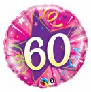 60th pink foil balloon qualatex