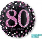 80th black pink foil balloon