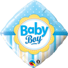 Baby Boy Diamond Stripes Blue Foil Balloon Qualatex