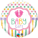 baby girl feet foil balloon qualatex
