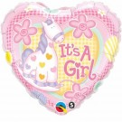 It's a Girl Pony Pink foil Balloon Qualatex