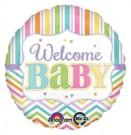 Welcome Baby Chevron Stripes Pastel Foil Balloon